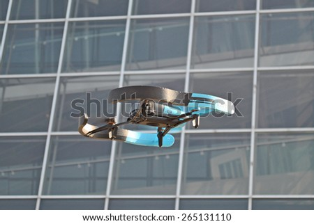 HANOVER, GERMANY, 20 MARCH 2015 - Drone displayed at CeBit, the biggest trade fair for information technology in the world. - stock photo