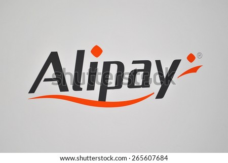 HANOVER, GERMANY, 20 MARCH 2015 - Logo of Alipay, the new payment gateway of Alibaba Group. This large Chinese ecommerce company announced Alipay during Cebit 2015. - stock photo
