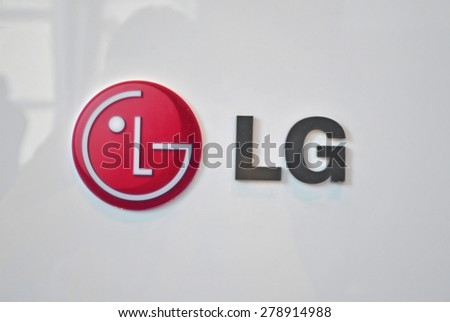 HANOVER, GERMANY, 20 March 2015 - Logo of LG displayed during CeBit, the largest IT trade show in the world. - stock photo