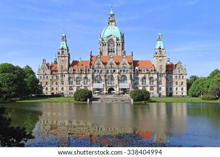 HANOVER, GERMANY - MAY 05: New Town Hall in Hanover on MAY 05, 2011. New City Hall Rathaus and Lake in Hannover, Germany. - stock photo