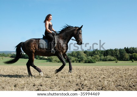 Hanoverian. Equestrienne gallops on hillside. - stock photo
