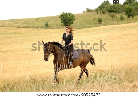 Hanoverian. Equestrienne gallops on hillside.