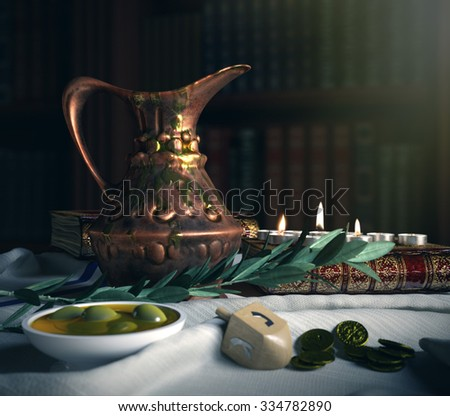 hanukkah close up with candles, old books, spinning top and olives - stock photo