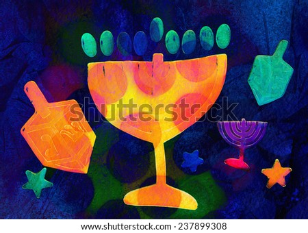 Hanukkah, festive background - stock photo