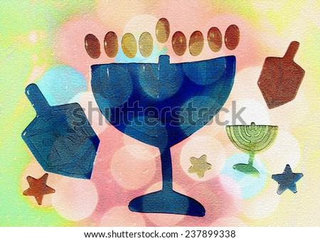Hanukkah, festive background - stock photo