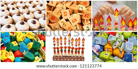 hanukkah jewish collage made from six images with donuts, dreidels and lights - stock photo