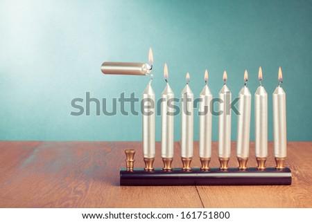 Hanukkah menorah with burning candles conceptual photo - stock photo