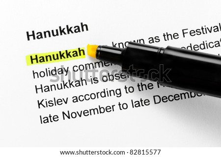 Hanukkah text highlighted in yellow, under the same heading