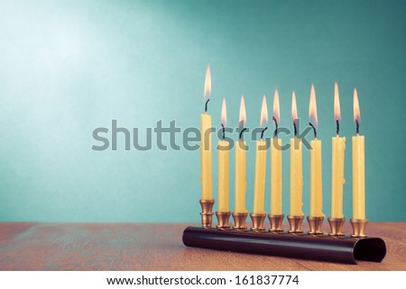 Hanukkah with burning candles for background - stock photo