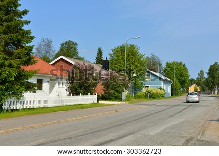 HAPARANDA,SWEDEN - JULY 11,2015:Haparanda is city in Norrbotten. It is twinned with Tornio (Finland) just across Torne river. Here are preserved old wooden houses, which are surrounded by lush gardens