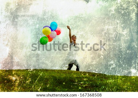 Happily pretty girl plays with colour balloons. Photo in old image retro vintage color concept style.  - stock photo