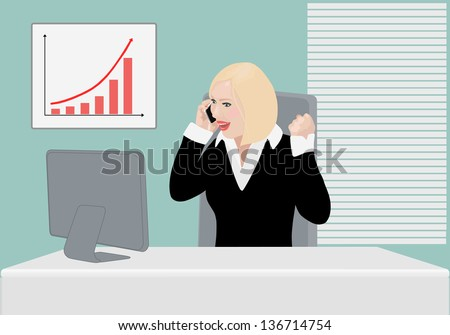 Happily surprised success business lady has just received good news on the smart phone and checks it on the computer monitor saying: yes! we did it! deal! contract! or probably has heard good news - stock photo