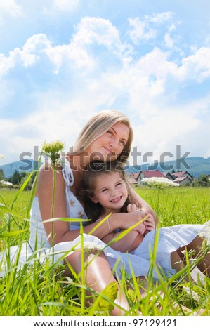 happines of the mother and daughter - stock photo