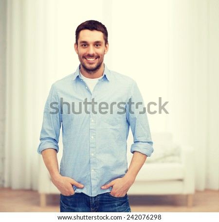 happiness and people concept - smiling man - stock photo