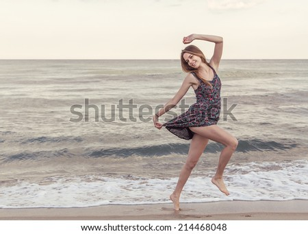 Happiness bliss freedom concept. Woman happy smiling joyful. Filtered image. - stock photo