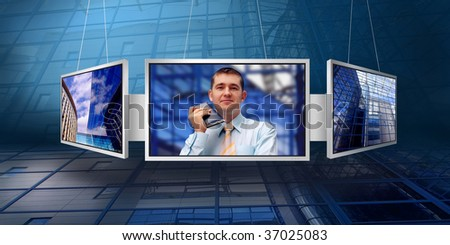 Happiness business man on business architecture background and monitor - stock photo
