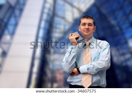 Happiness business men call by phone on business architecture background - stock photo