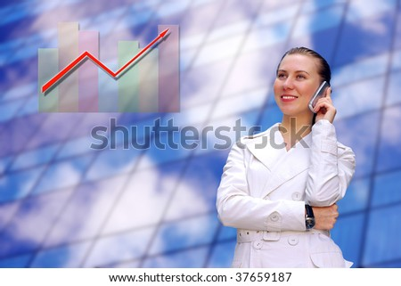 Happiness business woman on blured background - stock photo