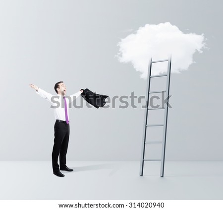 happiness businessman and cloud Stairway to Heaven - stock photo