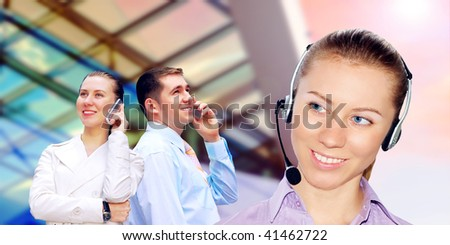 Happiness businessman calling on the business architecture background - stock photo