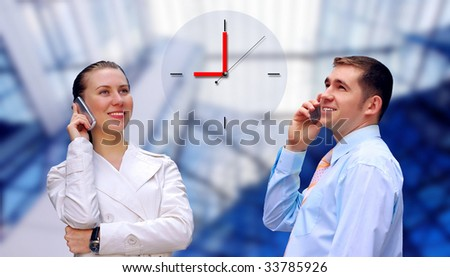Happiness businessmens call by phone on business architecture background - stock photo