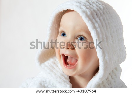 happiness child in white hood on white background