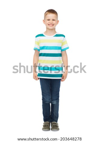 happiness, childhood and people concept - smiling little boy in casual clothes - stock photo