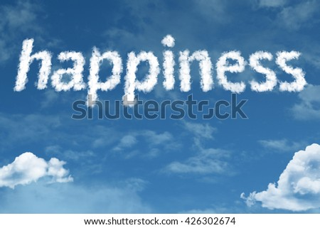 Happiness cloud word with a blue sky - stock photo