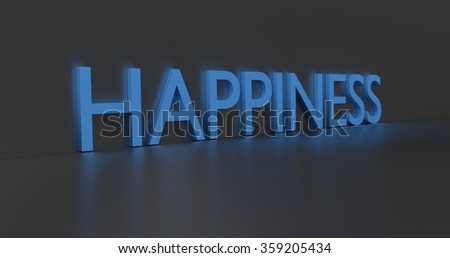 Happiness concept word - blue text on grey background.