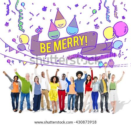Happiness Enjoy Fun Jolly Festive Concept - stock photo