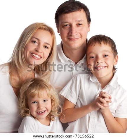 Happiness family with two children isolated on white - stock photo