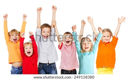 Happiness group children with their hands up isolated on white - stock photo
