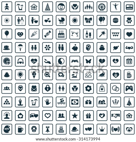 happiness 100 icons universal set for web and mobile