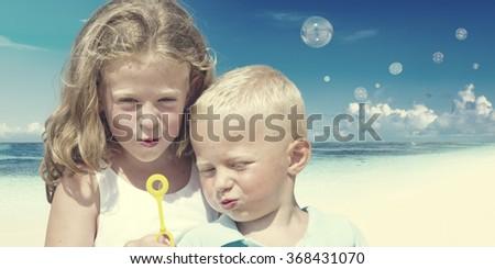 Happiness Innocent Summer Play Sea Beach Children Concept - stock photo