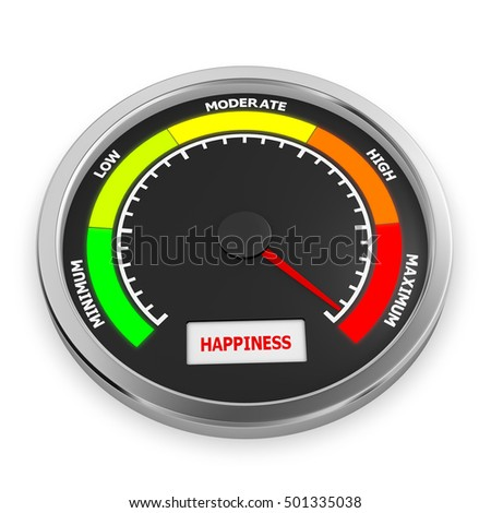 happiness  level to maximum conceptual meter, 3d rendering