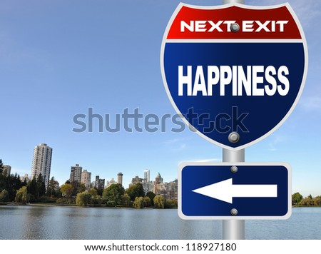 Happiness road sign - stock photo