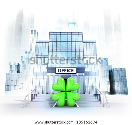 happiness sign in front of office building as business city concept render illustration - stock photo