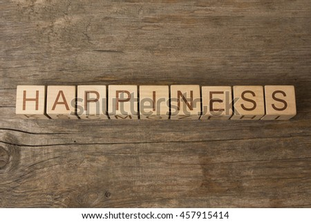happiness text on wooden cubes - stock photo