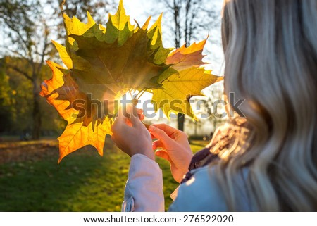 Happiness woman with leafs in autumn under sunlight - stock photo