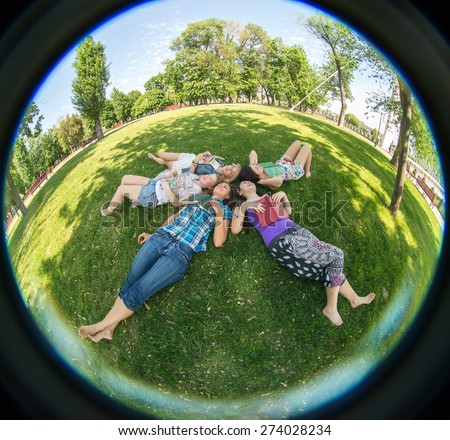 Happiness young beauty woman at a picnic in the park - stock photo