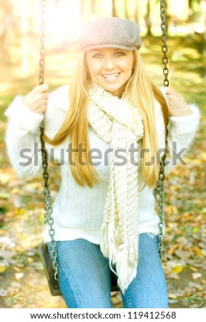 Happiness young woman fun in the park. - stock photo