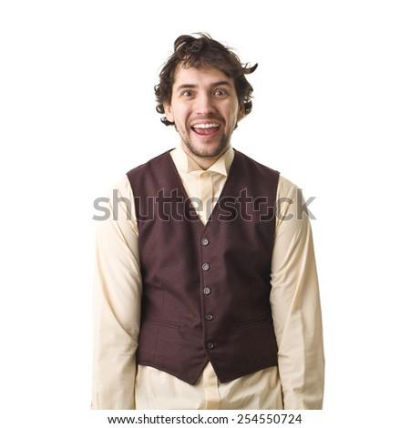 Happuy Retro Man Smiling Portrait. - stock photo