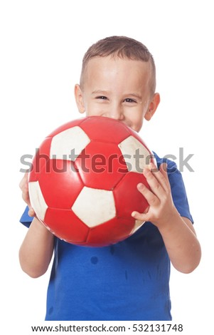 Happy adorable soccer player on isolated white