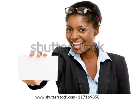 Happy African American business woman holding placard isolated on white background