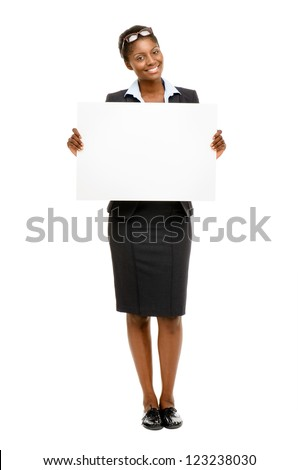 Happy African American business woman holding placard isolated on white background - stock photo
