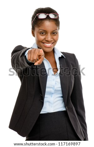 Happy African American business woman pointing isolated on white background