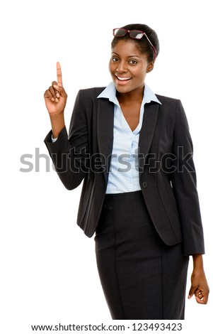 Happy African American business woman thinking of idea isolated on white background