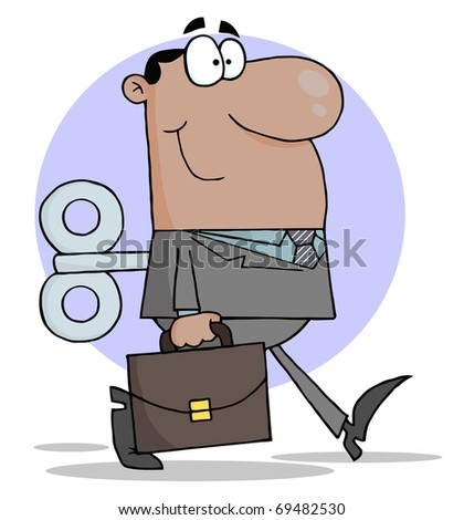 Happy African American Businessman With Wind-up Key In His Back - stock photo