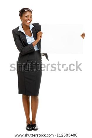 Happy African AMerican businesswoman holding white billboard isolated on white background