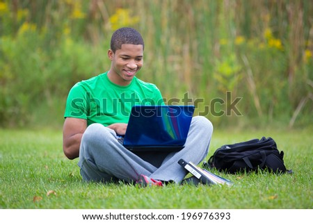 Happy African American College Student Holding Laptop Studying outdoor